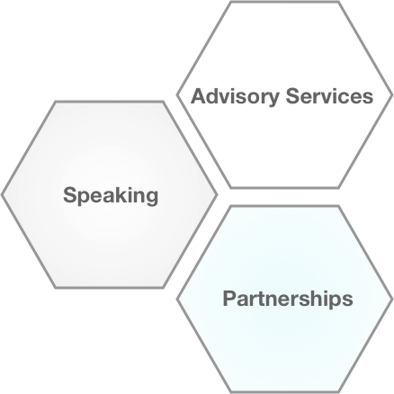 Graphic of three hexagons containing the words: Advisory Services, Speaking, and Partnerships